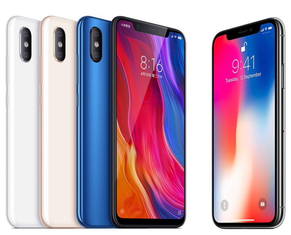 Xiaomi's Mi 8 is on the left, Apple's iPhone X is on the right