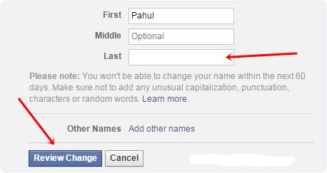 Facebook Name Settings