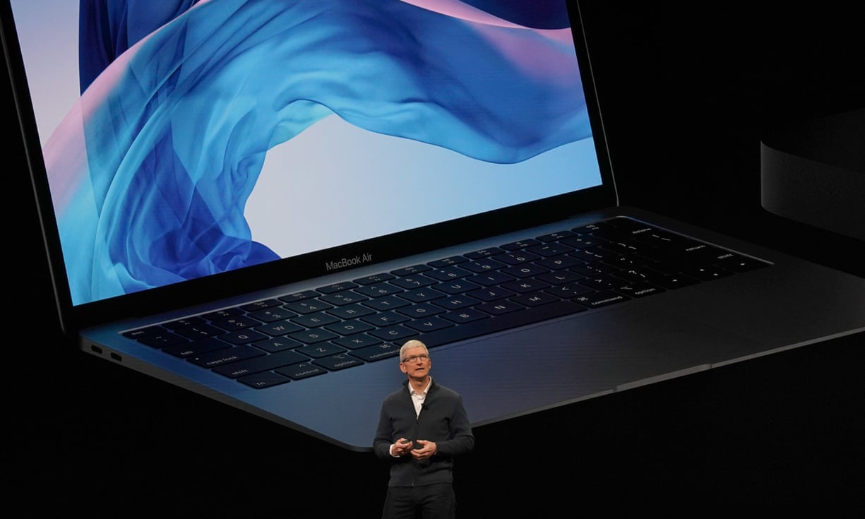 Tim Cook presents the new MacBook Air. Photograph: Timothy A Clary/AFP/Getty Images