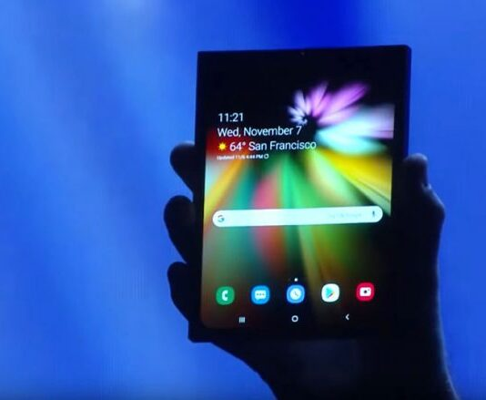 This is Samsung's Foldable phone, unveiled at SDC
