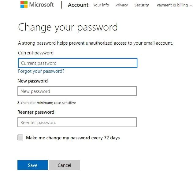 Change Password Settings