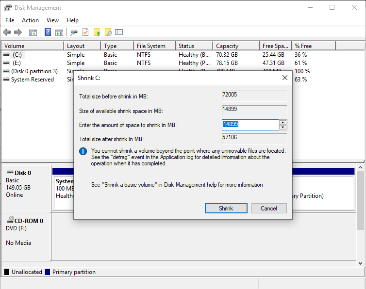 Partition A Hard Disk: – Windows