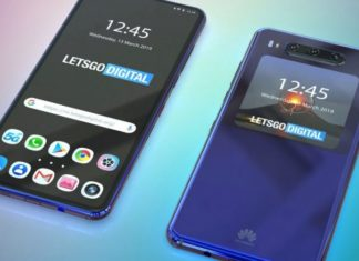 Huawei patented the phone with three cameras and a screen on the back