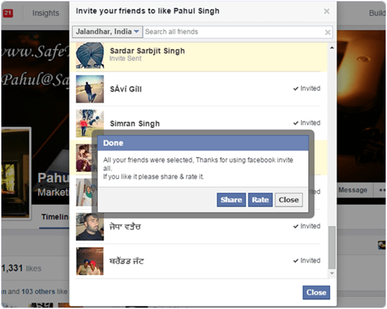 Invite All Friends To Like a Facebook Page (Chrome Extension)