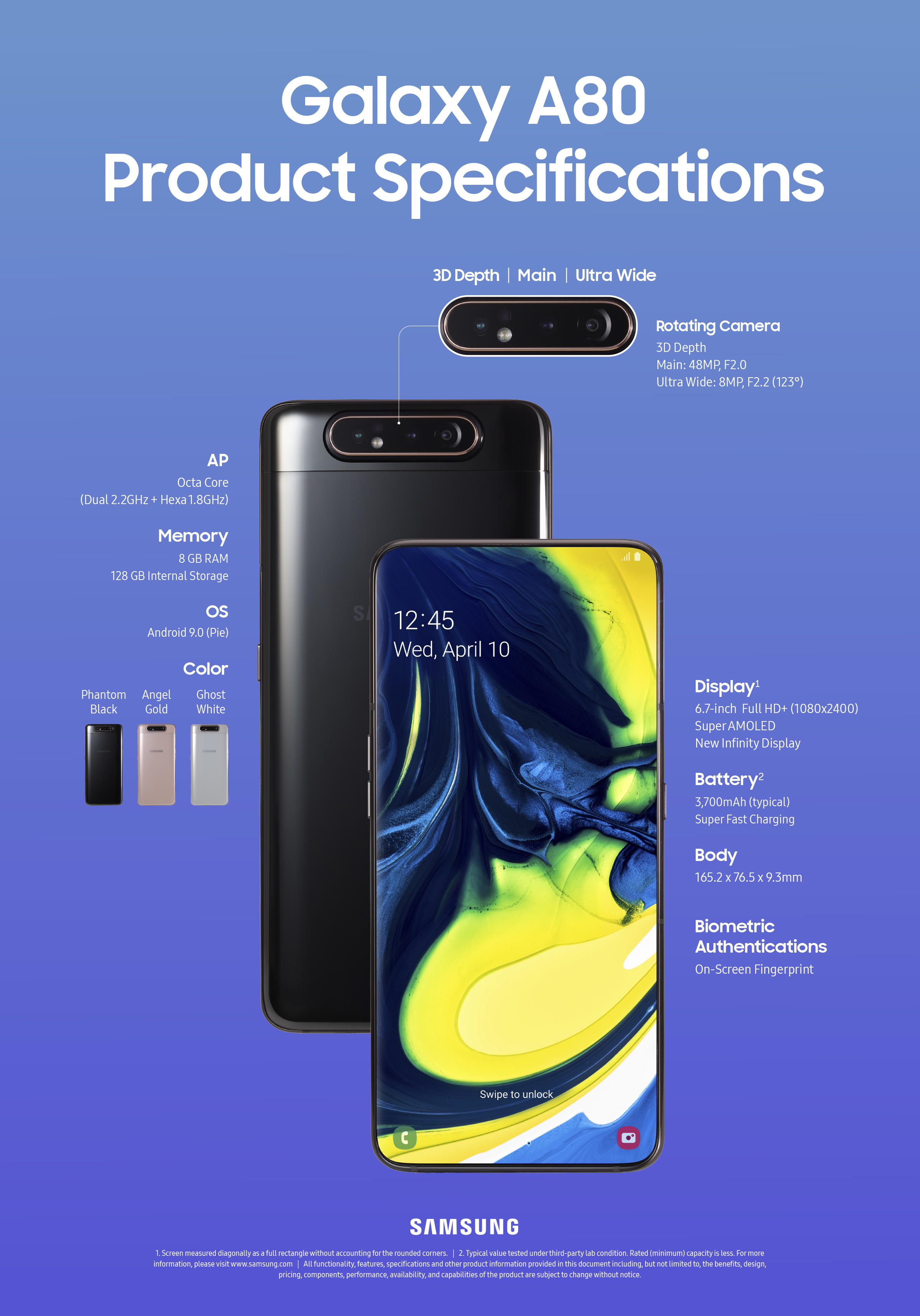 Samsung Galaxy A80 Product Specifications