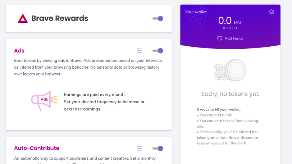 Brave Browser/Contribute to websites and content creators