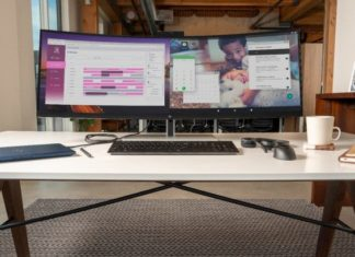 This 43.3-inch HP Monitor Displays the Screens of two Devices at the Same Time