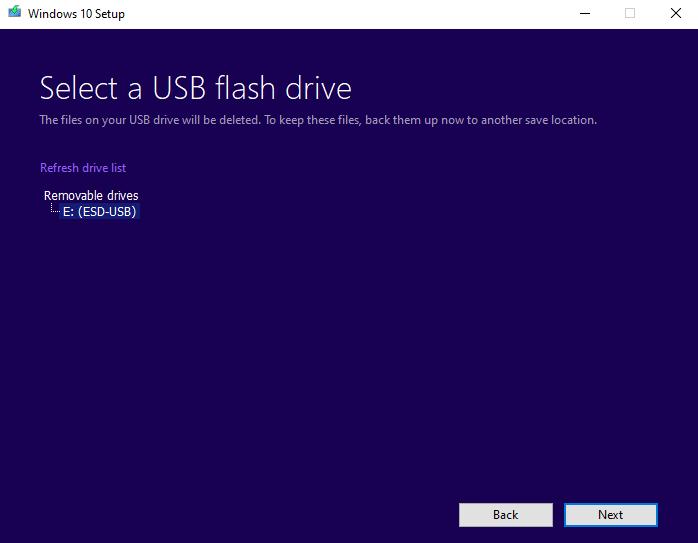 Select USB flash drive