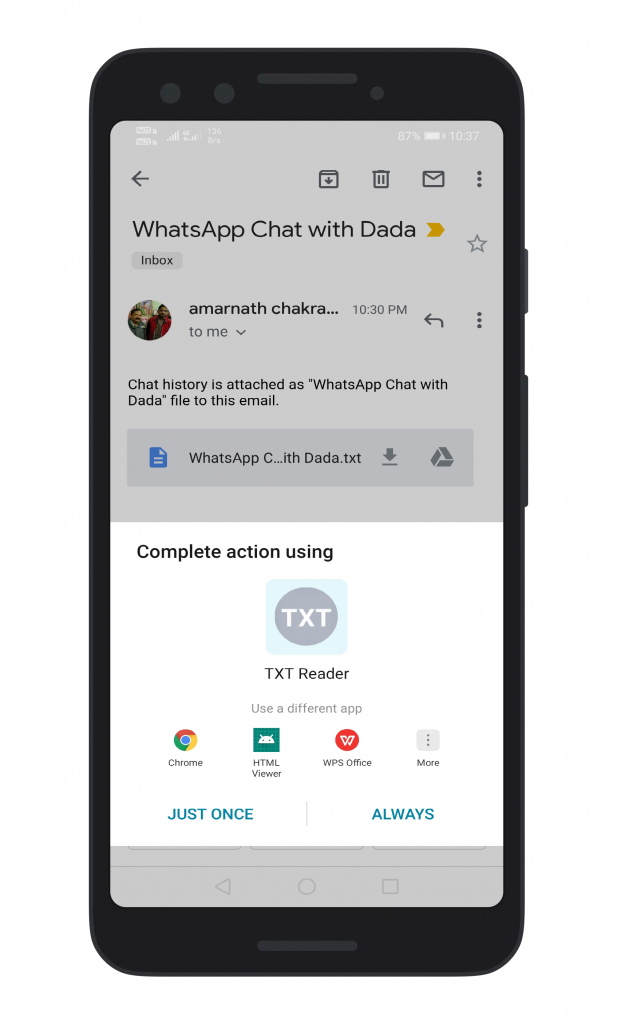 Export WhatsApp Chat as PDF using WPS Office