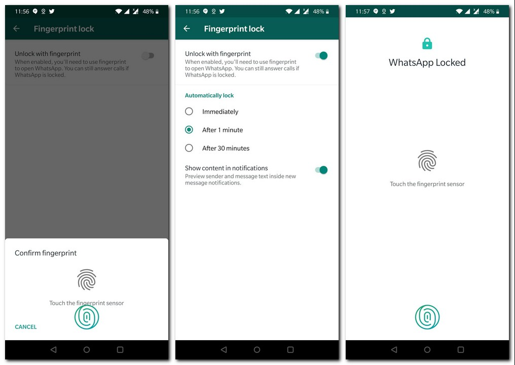 WhatsApp fingerprint unlock feature.