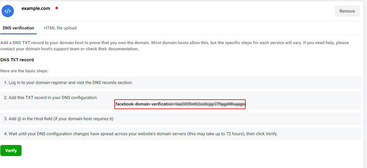 Verify Domain on Facebook