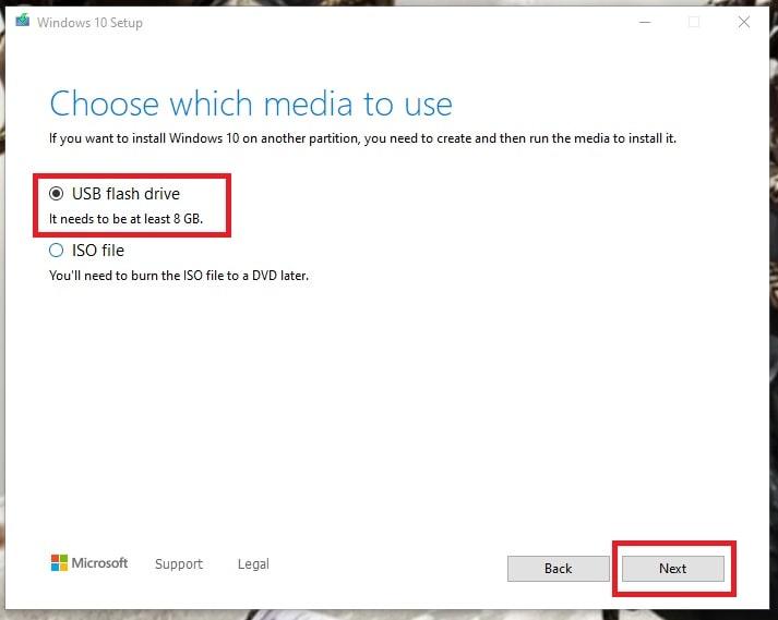 Windows 10 Media Tool (Choose USB flash drive)
