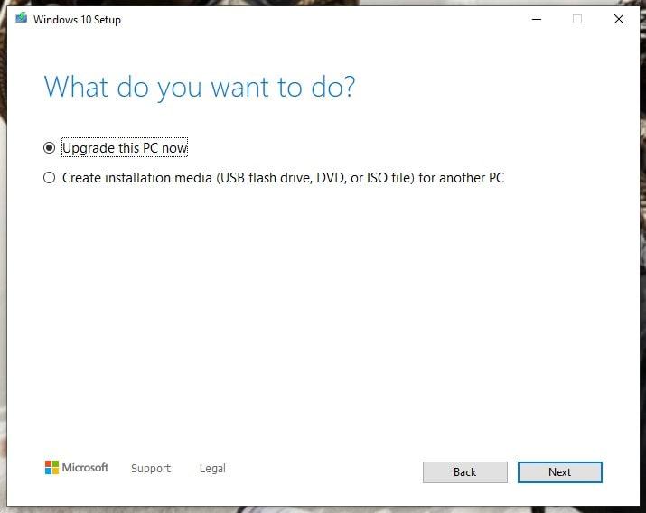 Windows 10 Media Tool (Start)