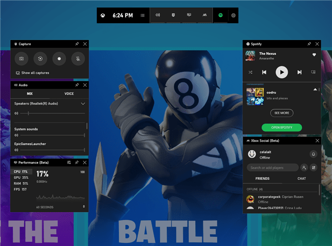 Xbox Game Bar Windows 10 Interface