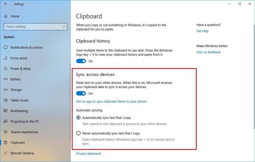 Sync Clipboard history Windows 10