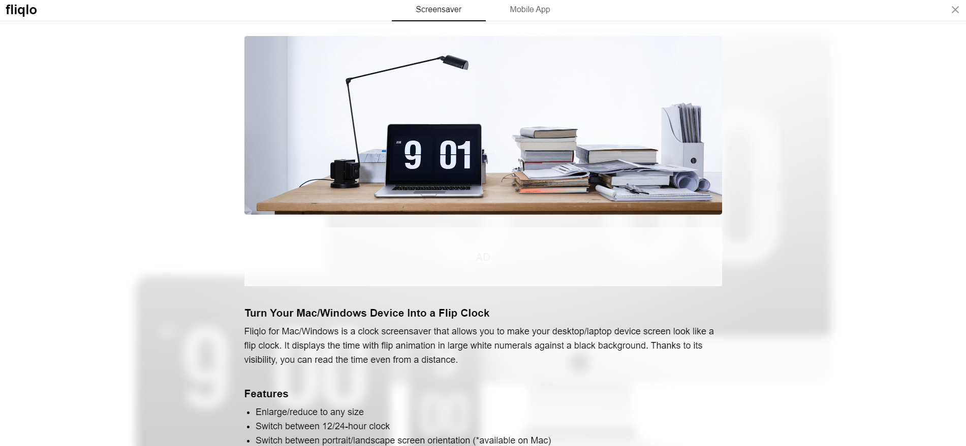 Flip Clock: Select screensaver or Mobile App