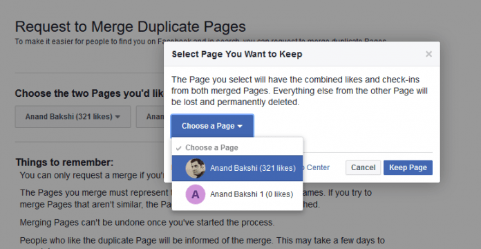 Merge Facebook Pages With Similar Name: Keep Page