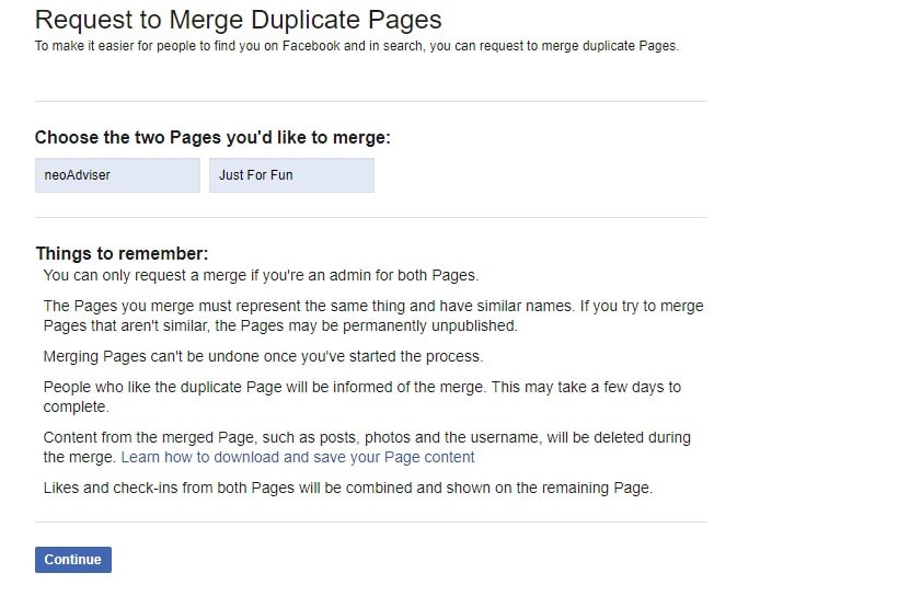 Merge Facebook Pages With Similar Name