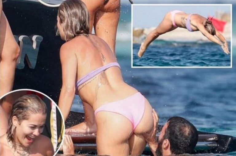 Rita Ora with friends and her new boyfriend Romain Gavras on vacation in Ibiza